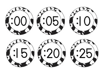Cow Spots Clock Numbers