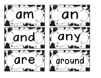 Cow Spots Word Wall Cards