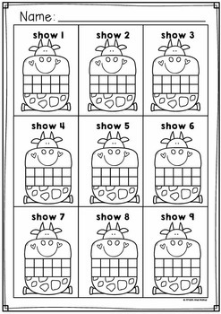 Cow Ten and Twenty Frame Math Center Activities