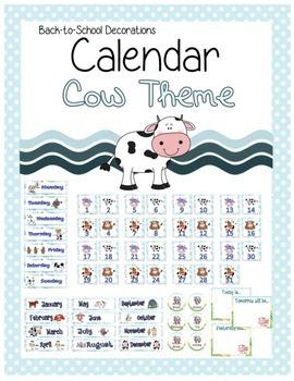 Cow Themed Calendar Set