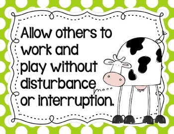 Cow-Themed Classroom Rules Posters