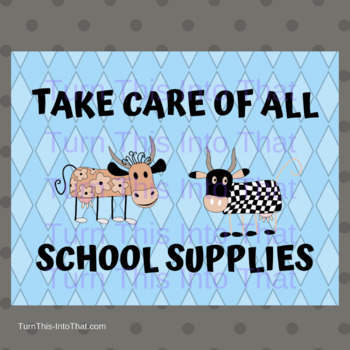 Cow Themed Classroom Rules Posters - Blue Background