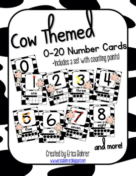 Cow Themed Number Signs {with counting points}
