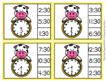 Cow Time to the Half Hour Clip Cards