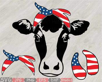 Cow USA Flag Bandana Silhouette SVG clipart American 4th July 835S