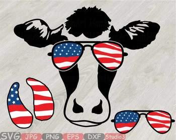 3293bd13e663 ... Cow USA Flag Glasses Silhouette SVG clipart cut layer cowboy 4th July  831S