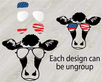 Cow USA Flag Glasses Silhouette SVG clipart cut layer cowboy 4th July 831S