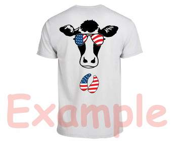 Cow USA Flag Glasses Silhouette SVG clipart cut layer cowboy 4th July 832S