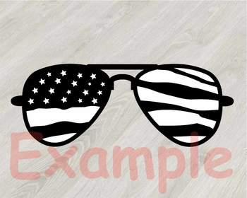 Cow USA Flag Glasses Silhouette SVG clipart cut layer cowboy 4th July 833S