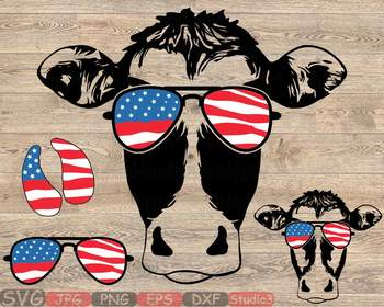 92f2f882c1c8 ... Cow USA Flag Glasses Silhouette SVG cows farm cowboy western 4th July  865S