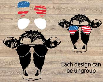 Cow USA Flag Glasses Silhouette SVG cows farm cowboy western 4th July 865S