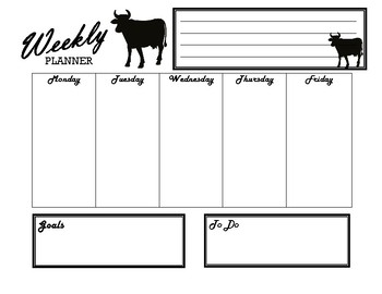 Cow Weekly Classroom Planner