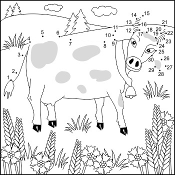 Cow and Cornflowers Connect the Dots and Coloring Page, Commercial Use Allowed