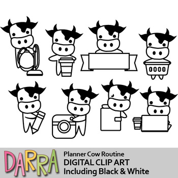 Cow clip art / planner routine task, chore activities clipart