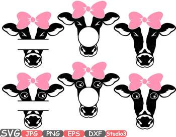 Cow with Bandana Silhouette SVG clipart cowboy western Farm girl Iron Bow 771S