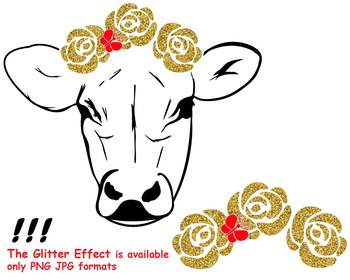 Cow with Flowers Silhouette SVG Glitter  Heifer outline farm girl Bandanna 74sv