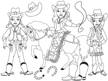 CowGirl Clipart - Digital Vector Wild West, Cowboy, Cowgir