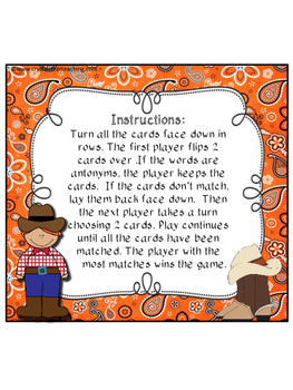 Cowboy Antonyms: A Matching Memory Game