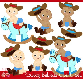 Cowboy Babies Clipart Set