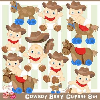 Cowboy Baby Clipart Set