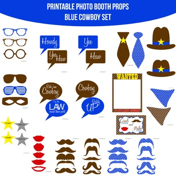 Cowboy Blue Printable Photo Booth Prop Set