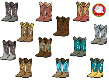 Cowboy Boots Clipart (Personal & Commercial Use)