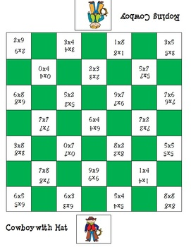 Cowboy Checkers - Math Center - Multiplication Game