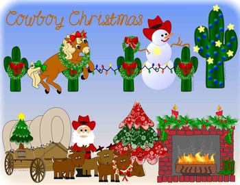 Cowboy Christmas Clip Art Western - Totally Unique!