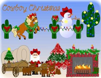Cowboy Christmas Clip Art Western - Totally Unique!