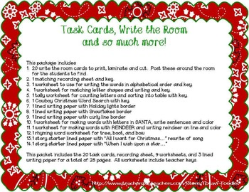 Cowboy Christmas Write the Room * Task Cards * Worksheets * Writing Packet