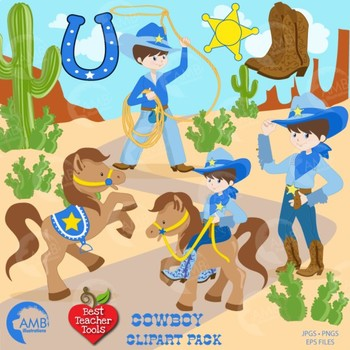 Clipart, Cowboy Clipart, Rodeo Clip Art, Western Clipart in Blue, AMB-184