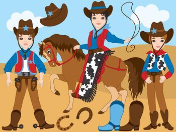 Cowboy Clipart - Digital Vector Wild West, Cowboy, Horse, Western Clip Art