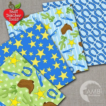 Cowboy Clipart and Digital Papers Bundle {Best Teacher Tools} AMB-1732