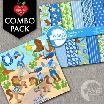 Cowboy Clipart and Digital Papers Bundle {Best Teacher Too