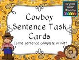 Cowboy Complete Sentence Task Cards