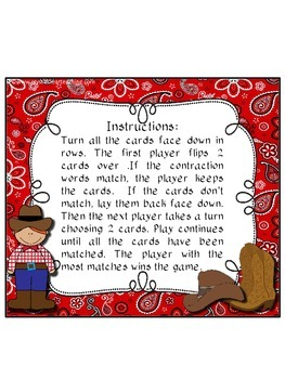 Cowboy Contractions: A Matching Memory Game