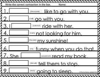 Contractions Activities and Worksheets with Sight Words -  2nd and 3rd Grade