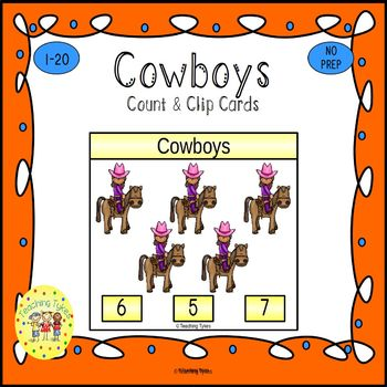 Cowboys Count and Clip Task Cards