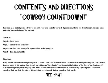 Cowboy Countdown - An Open-Ended Activity for Speech Therapy