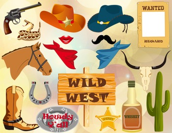 Cowboy Cowgirl Party Photo Booth Props Western Party Photobooth Props