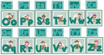 Cowboy & Cowgirl Word Wall Alphabet Labels