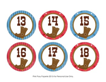 Cowboy Cubby Number Labels 1-30