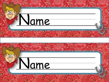 Nameplates Western Cowboy  *EDITABLE VERSION*