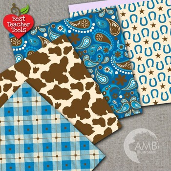 Cowboy Digital Papers in Blues, Western Theme {Best Teacher Tools} AMB-1975