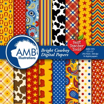 Cowboy Digital Papers in Bright Colors, {Best Teacher Tools} AMB-1976