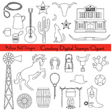Cowboy Digital Stamps Clipart