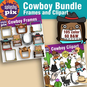 Cowboy Frame and Clipart Bundle