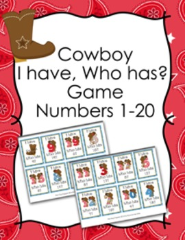Cowboy I Have Who Has? Number Recognition Game 1-20