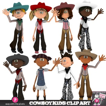 Cowboy Kids Clip Art - Multicultural Western Kids Waving Cowgirl Cowboy Clipart