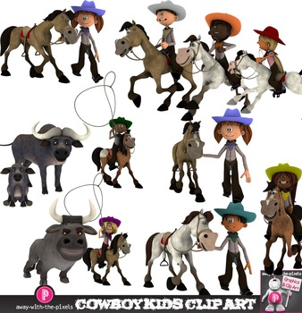 Cowboy Kids Clip Art - Multicultural Western Kids Riding, Lasso, Buffalo & Bull